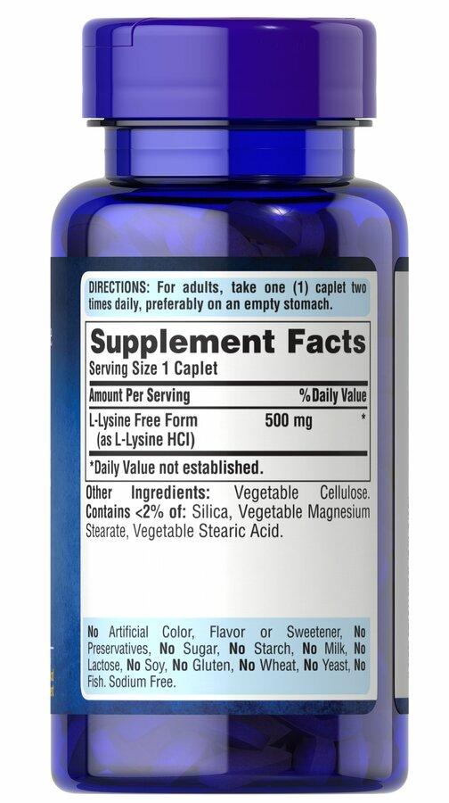 Лизин, L-Lysine, Puritan's Pride, 500 мг, 100 таблеток