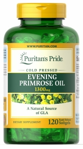 Масло вечерней примулы с ГЛК, Evening Primrose Oil, Puritan's Pride, 1300 мг, 120 гелевых капсул