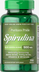 Спирулина, Spirulina, Puritan's Pride, 500 мг, 200 таблеток