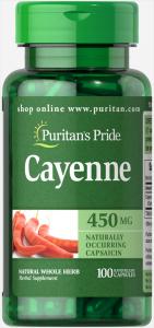 Кайенский перец, Cayenne, Puritan's Pride, 450 мг, 100 капсул