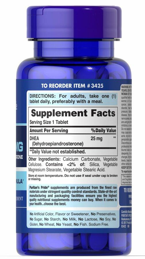 ДГЭА (дегидроэпиандростерон), DHEA, Puritan's Pride, 25 мг, 250 таблеток