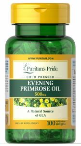 Масло вечерней примулы с GLA, Evening Primrose Oil, Puritan's Pride, 500 мг, 100 капсул