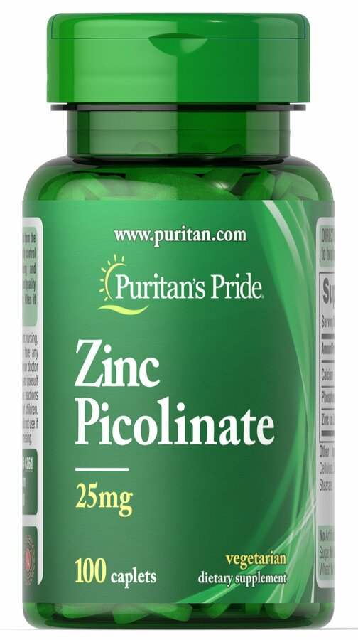 Цинк пиколинат, Zinc Picolinate, Puritan's Pride, 25 мг, 100 капсул