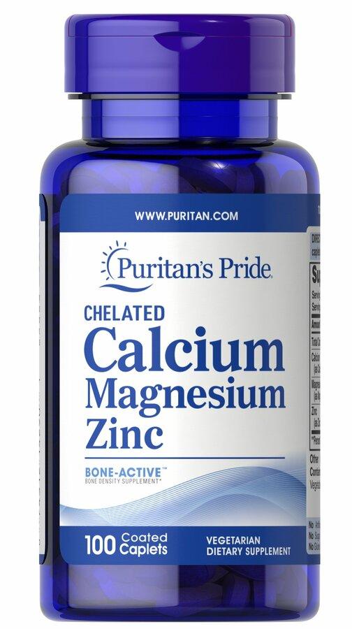 Кальций магний цинк хелат, Chelated Calcium Magnesium Zinс, Puritan's Pride