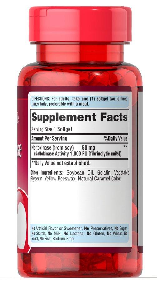 Наттокиназа, Nattokinase, Puritan's Pride, 50 мг, 60 капсул