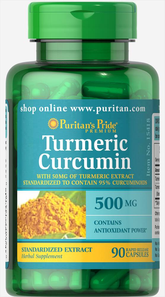 Куркумин, Turmeric Curcumin, Puritan's Pride, 500 мг, 90 капсул