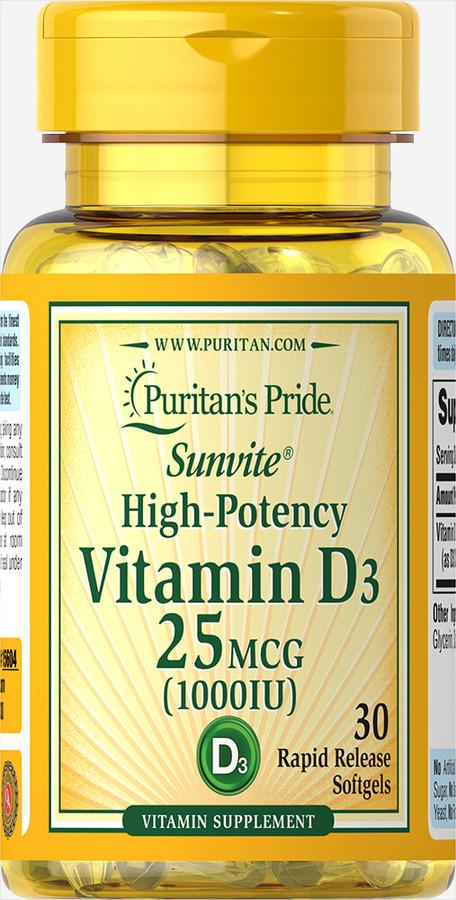 Витамин Д3, Vitamin D3, Puritan's Pride, 1000 МЕ, 30 капсул