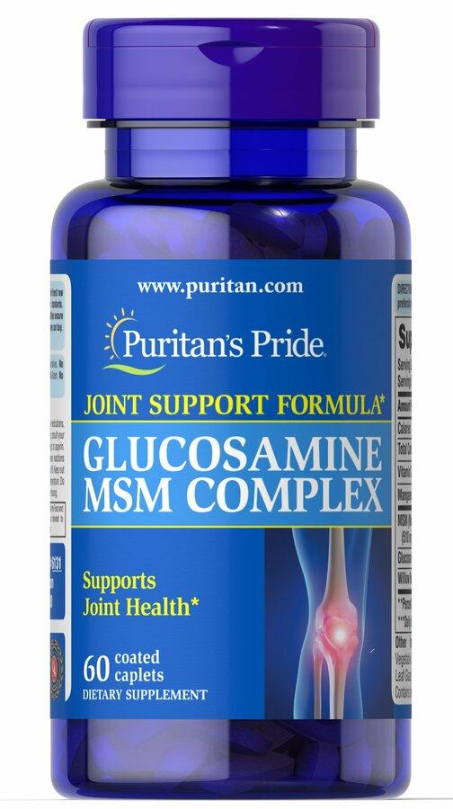Глюкозамин и МСМ комплекс, Glucosamine MSM Complex 333 mg/500 mg, Puritan's Pride, 60 капсул