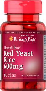 Красный дрожжевой рис, Red Yeast Rice, Puritan's Pride, 600 мг, 60 капсул