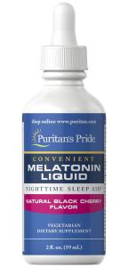 Мелатонин со вкусом вишни, Melatonin, Puritan's Pride, 1 мг, 59 мл