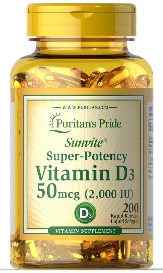 Витамин Д3, Vitamin D3, Puritan's Pride, 2000 МЕ, 200 капсул