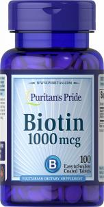 Биотин, Biotin, Puritan's Pride, 1000 мкг, 100 таблеток