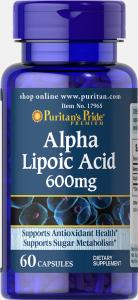 Альфа-липоевая кислота, Alpha Lipoic Acid, Puritan's Pride, 600 мг, 60 капсул