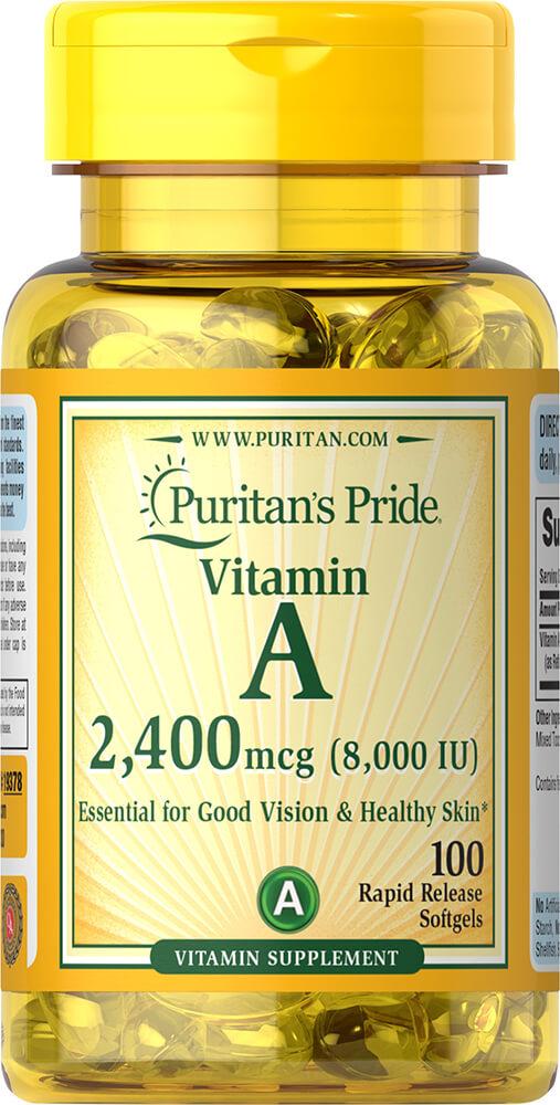 Витамин А, Vitamin A, Puritan's Pride, 8000 МЕ, 100 гелиевых капсул