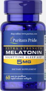Мелатонин, Melatonin, Puritan's Pride, 5 мг, 60 капсул
