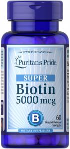 Биотин, Biotin, Puritan's Pride, 5000 мкг, 60 капсул