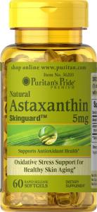 Астаксантин, Natural Astaxanthin 5 mg, Puritan's Pride, 5 мг, 60 капсул