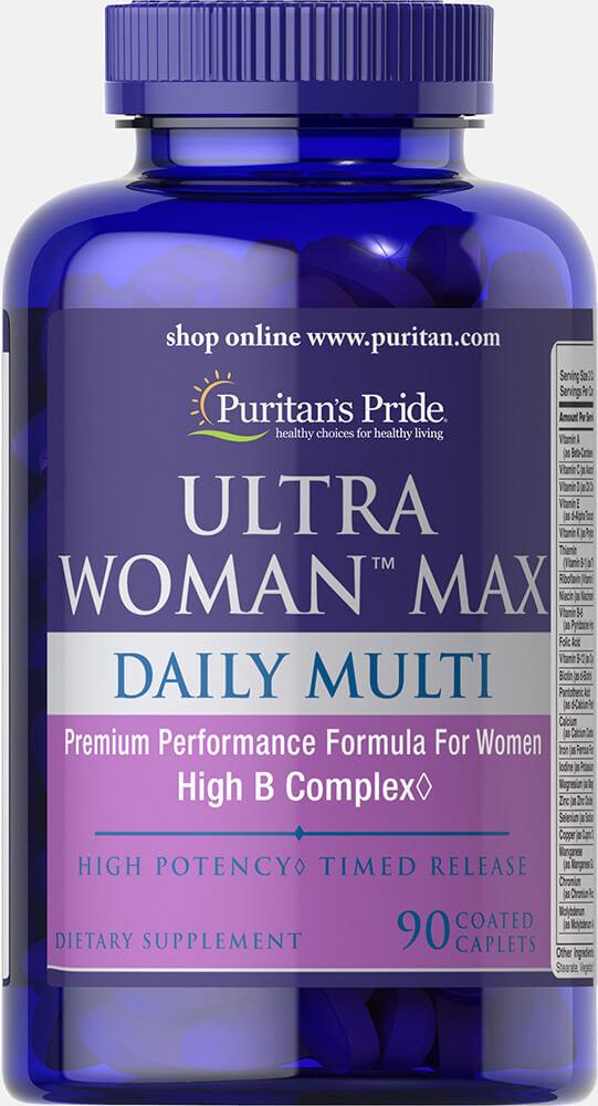 Мультивитамины для женщин ультра, Ultra Woman™ Max Daily Multivitamin, Puritan's Pride, 90 капсул