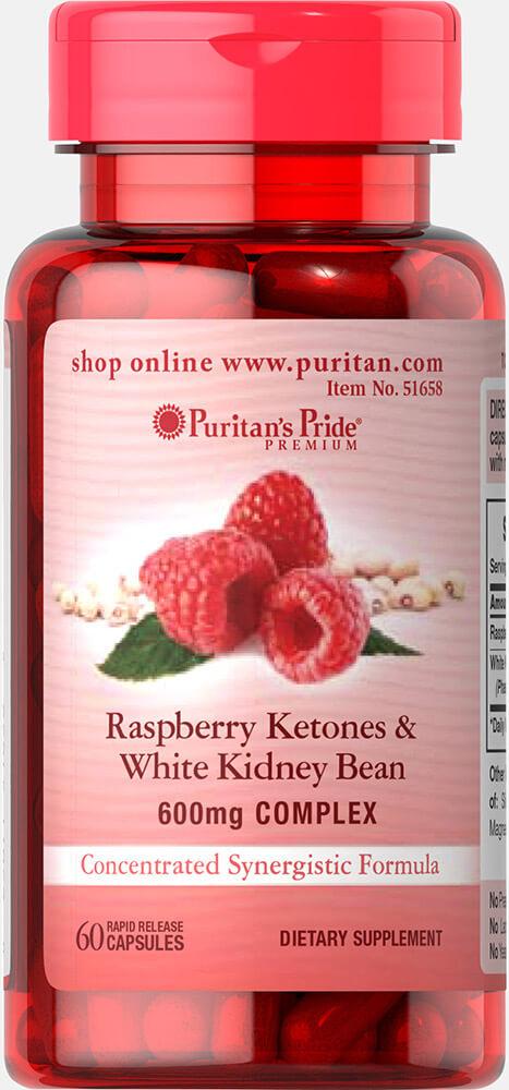 Малиновые кетоны и белая фасоль, Raspberry Ketones White Kidney Bean, Puritan's Pride, 100 мг, 60 капсул