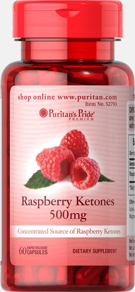 Малиновые кетоны, Raspberry Ketones 500 mg, Puritan's Pride, 60 гелевых капсул