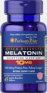 Мелатонин быстрого растворения, Melatonin, Puritan's Pride, 10 мг, 45 быстрорастворимых таблеток