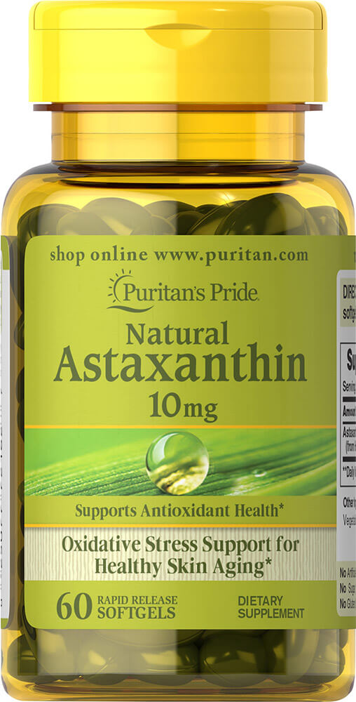 Астаксантин, Natural Astaxanthin 10 mg, Puritan's Pride, 10 мг, 60 капсул