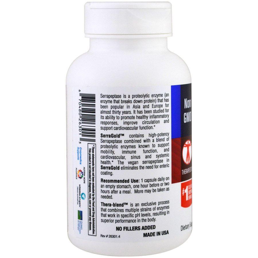 Протеолитические ферменты, SerraGold, Enzymedica, серрапептаза для сердца, 120 капсул