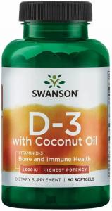 Витамин D 3 с кокосовым маслом, 60 капсул, Swanson