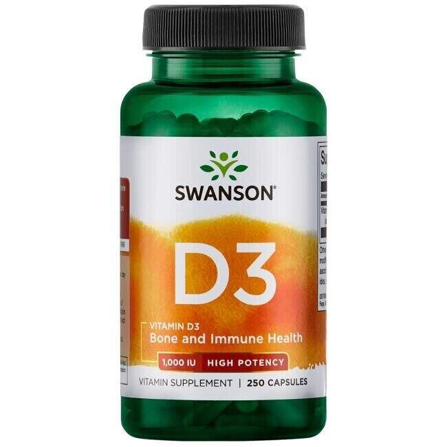 Витамин D 3 1000 IU(25 мкг), 250 капсул, Swanson
