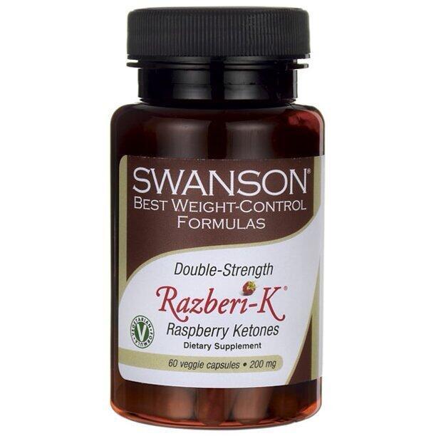 Кетоны малины,  RAZBERI-K, двойная сила, 200 мг, 60 капсул, Swanson