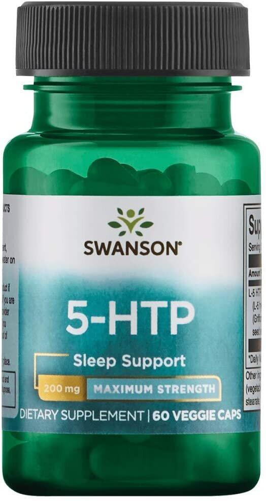 5-HTP, 5-гидрокситриптофан, 200 мг., 60 капсул, Swanson