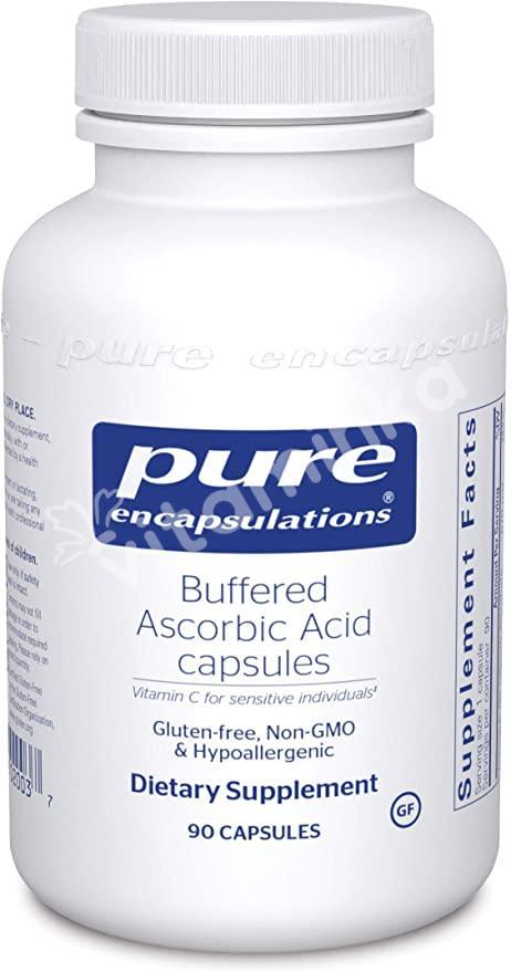 Буферизированная Аскорбиновая Кислота, Buffered Ascorbic Acid, Pure Encapsulations, 90 капсул
