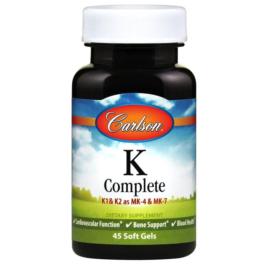 Витамин К, полная формула, K-Complete, Carlson Labs, 45 гелевых капсул