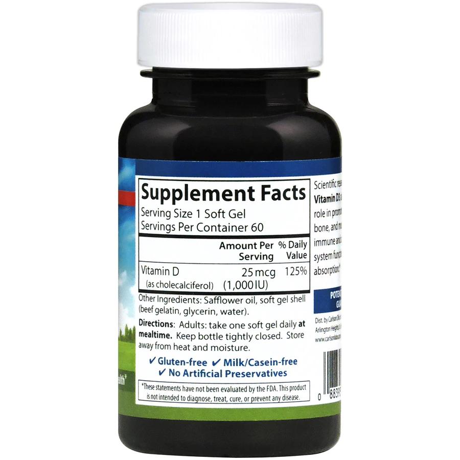 Витамин Д3, Vitamin D3, Carlson Labs, 1000 МЕ