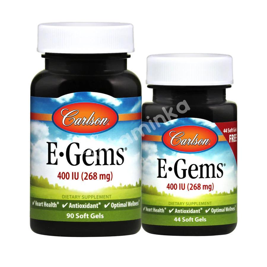 Витамин Е, Carlson Labs, 400 МЕ, 2 банки, 90 + 44 капсулы