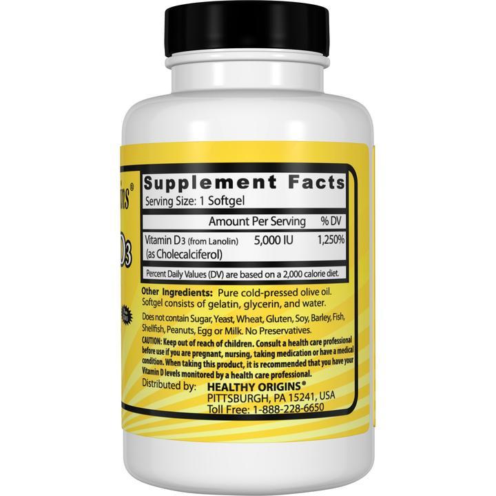 Витамин Д3, Healthy Origins, 5000 МЕ