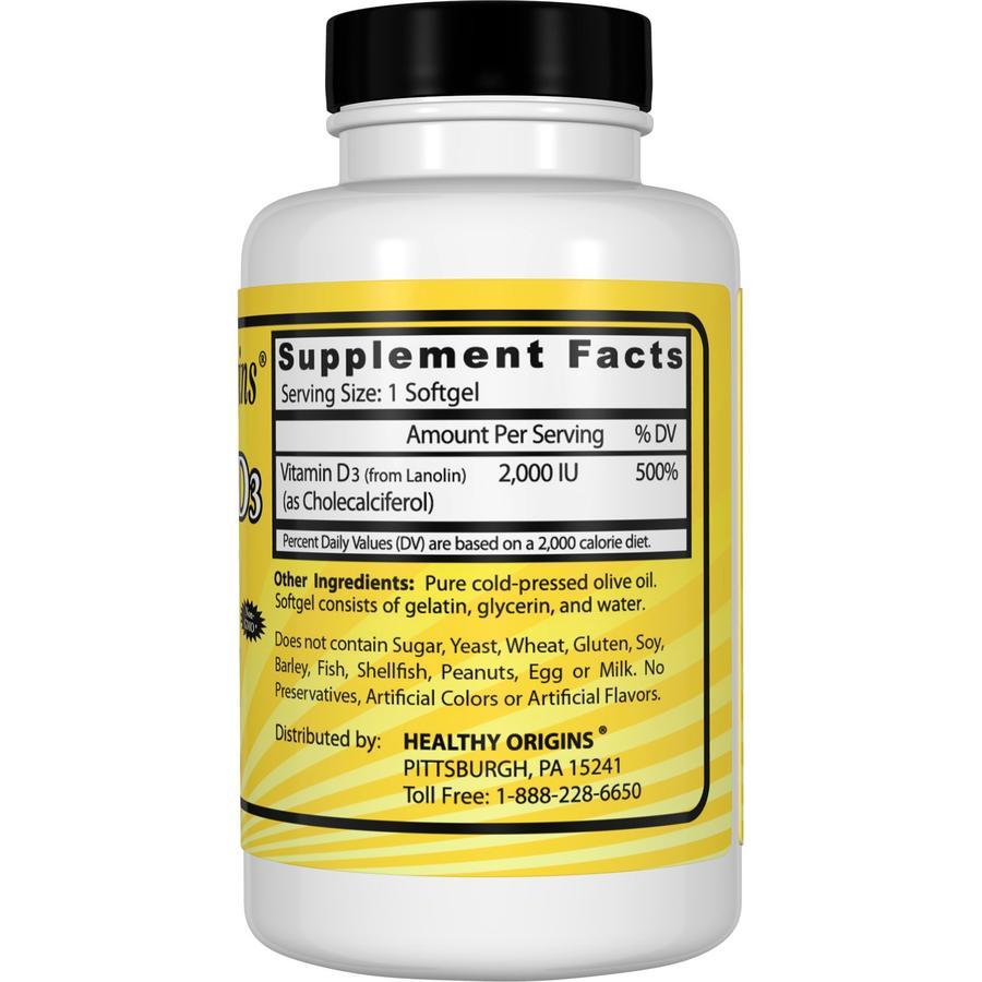 Витамин Д3, Healthy Origins, 2000 МЕ, 360 капсул