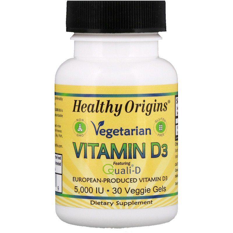 Витамин Д3, Vitamin D3, Healthy Origins, вегетарианский, 5000 МЕ, 30 гелевых капсул