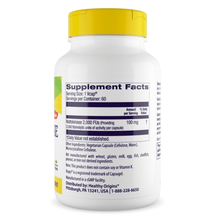 Наттокиназа, Healthy Origins, 100 мг, 60 капсул