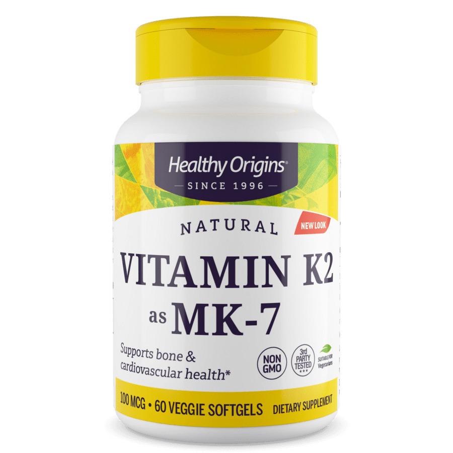 Витамин K2 в форме MK7, Vitamin K2 as MK-7, 100 мкг, Healthy Origins