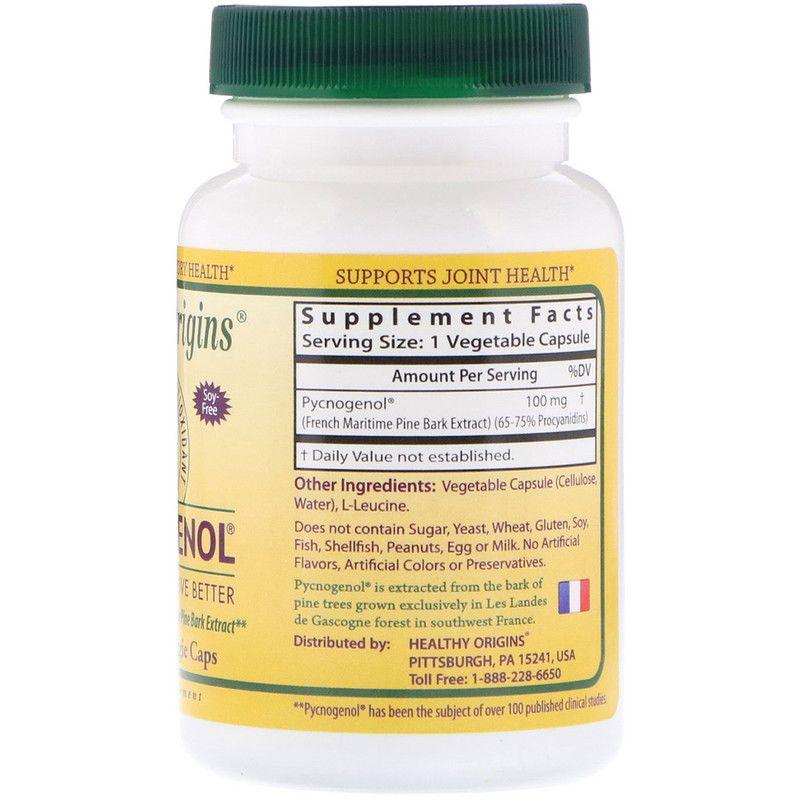 Экстракт сосновой коры, Pycnogenol, 100 mg., Healthy Origins, 60 капсул