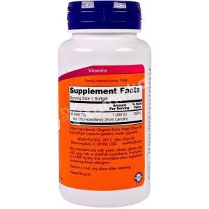 Витамин Д3, Vitamin D-3, Now Foods, 1000 МЕ, 180 капсул