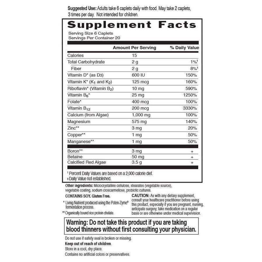 Мультивитамины для здоровья костей с обогащенным кальцием, Vitamin and Mineral, Garden of Life, 120 таблеток
