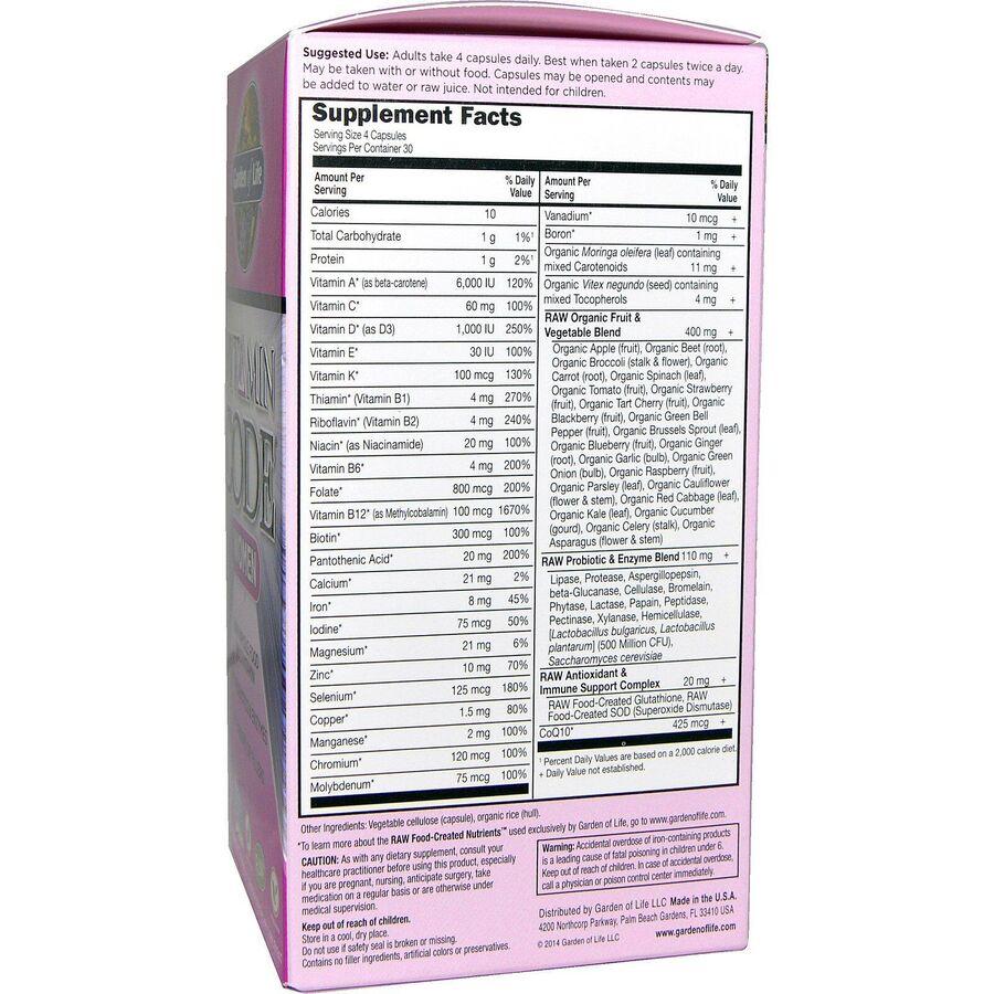 Сырые Витамины для женщин, Garden of Life, 120 капсул
