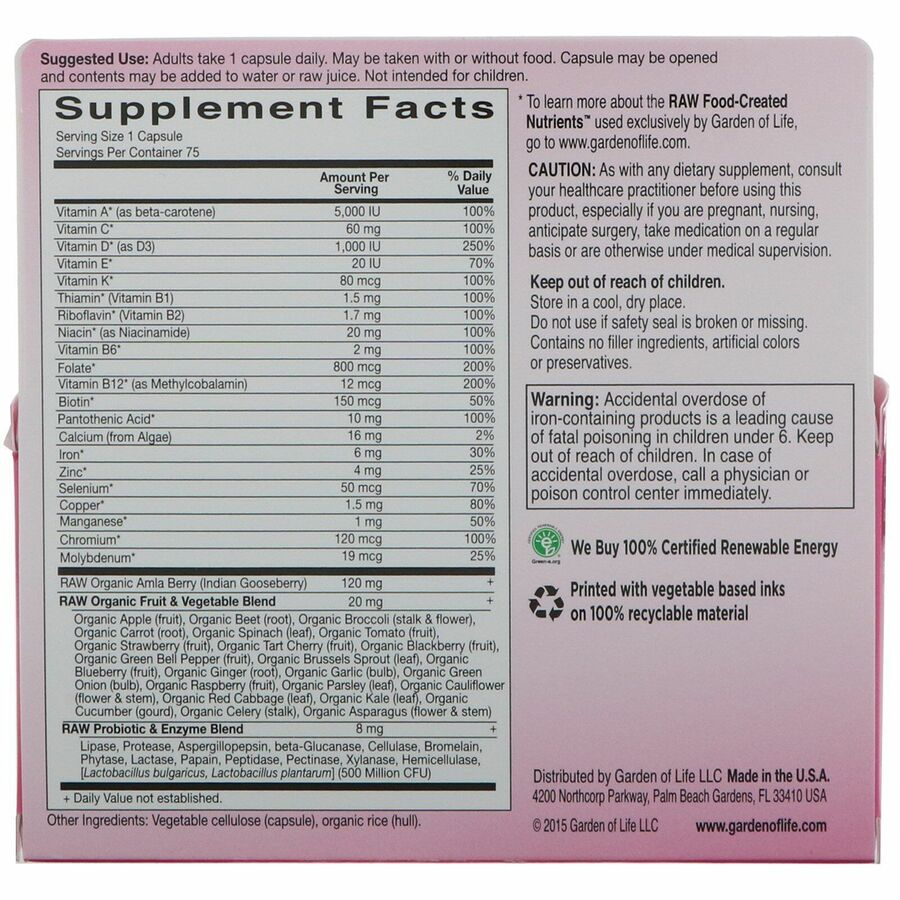 Сырые Витамины для женщин, Garden of Life, 75 капсул