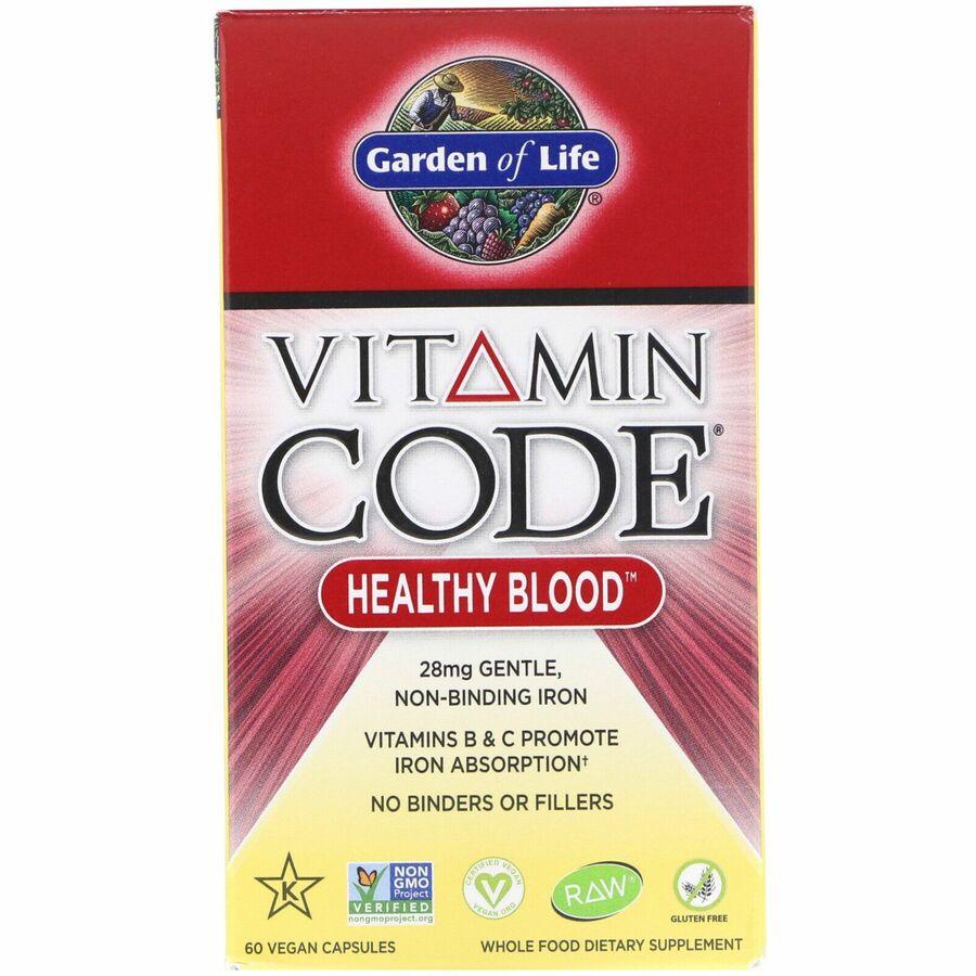 Сырые Витамины, Здоровая кровь, Garden of Life, 60 кап.