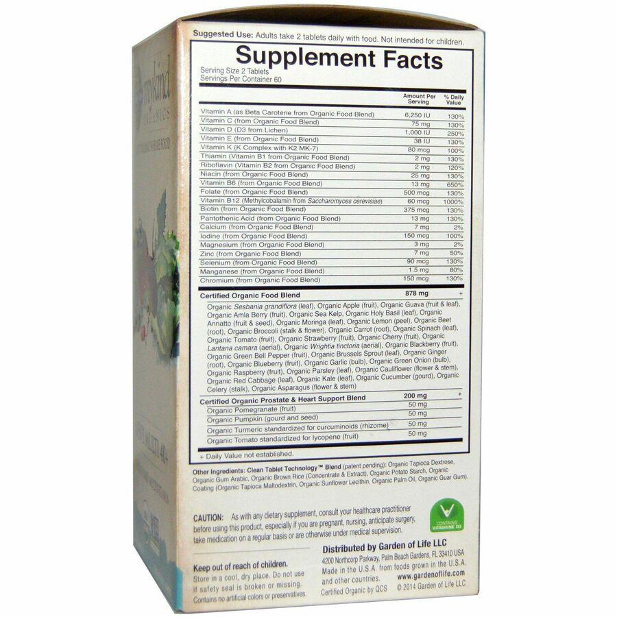 Витамины для мужчин, Garden of Life, 40+, 120 таблеток