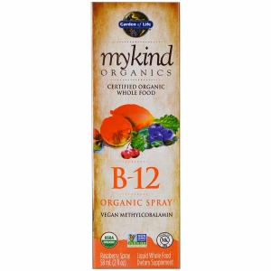 Витамин В-12, Vitamin B-12 Spray, Garden of Life, вкус малина, органик, 58 мл.