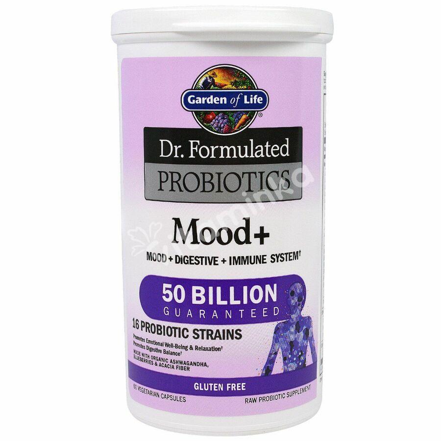 Пробиотическая формула: настроение+ (Probiotics), Garden of Life, 60 капсул