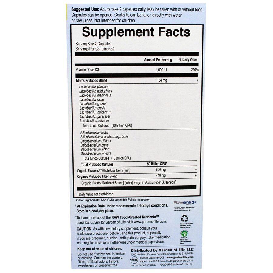 Пробиотическая формула: простата + (Probiotics), Garden of Life, 60 капсул